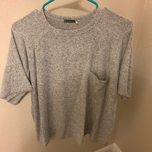 Grey structured fitting sweater top